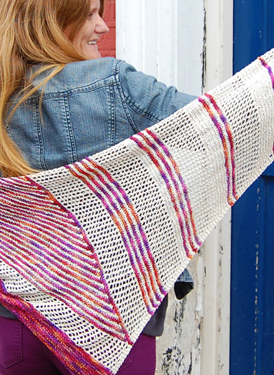 The Spitalfield Shawl Kit (150g raw silk from Designette and pattern)